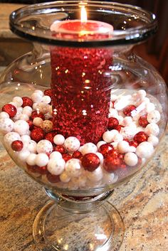 Christmas candle & jar filled with beads