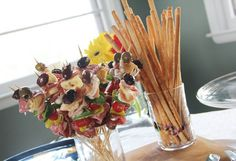 Wine Themed Bridal Shower Food - Antipasti Skewers, bread sticks, and bruschetta Wine And Cheese Party, Wine Tasting Party, Wine Parties, Wine Cheese, Italian Themed Parties, Italian Party, Party Snacks, Appetizers For Party, Italian Appetizers