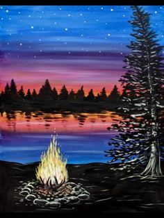 Check out Lakeside Campfire II at Da Santino Paint Nite Event Easy Canvas Painting, Diy Painting, Painting & Drawing, Canvas Art, Wine And Canvas, Beginner Painting, Learn To Paint, Pictures To Paint, Painting Inspiration