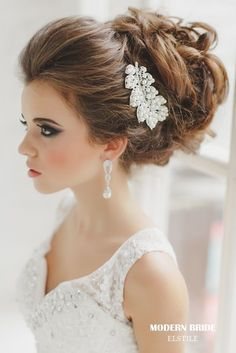 updo wedding hairstyles with leaves shaped bridal headpieces