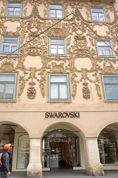 VIENA - Austria - Swarovski Building Stucco facade of Luegghaus, Luegg House Swarovski Store Graz has precious jewelry including necklaces, pendants, earrings, bracelets and wristbands, rings, brooches, hair slides, as well as cufflinks and glamorous jewelry collections - of course all decorated with the ...