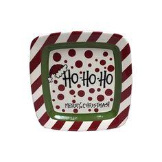 """HO HO HO"" Square Ceramic Plate"