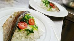Trout fillet with rice and wakame