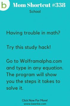 Brilliant School Hacks Everyone Should Know! - Beenke School Hacks A website that can help teach you to solve math equations! Check out our lifehacks for school including study tips and learning resources. CLICK NOW to discover more Mom Hacks. High School Hacks, College Life Hacks, Life Hacks For School, School Study Tips, Life Hacks Math, Back To School Tips, Middle School, Help Teaching, Teaching Math