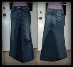 Custom Order two tone Long jean skirt with by CustomJeanSkirts, $58.00