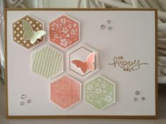 handmade card ... luv the soft ink colors ... stamped and punched hexagons in greed and coral ... pretty card with some bling and butterflies too ... Stampin' Up!