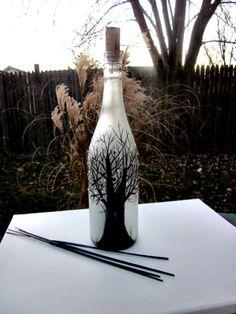 Incense Burner, Smoking Bottle, Recycled Frosted Wine Bottle, Incense Holder, Hand Painted, Black Trees, Sparkle Leaves