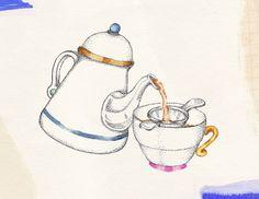 Teatime, design for tea towel