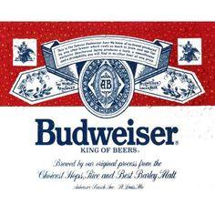 Crystal Art Vintage Budweiser Label Metal Sign, Multicolor