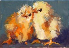 Carol Carmichael Paints: birds of a feather. A painting of baby chicks. Rooster Painting, Rooster Art, Chicken Painting, Chicken Art, Farm Art, Galo, Wow Art, Animal Paintings, Bird Paintings