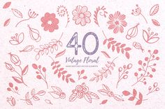 Vector Vintage Floral & BONUS  by Kaerie Out Creative on @creativemarket