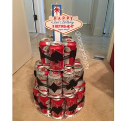 Las Vegas themed Beer can cake for a birthday and retirement party Made by Janis @designsbyjay