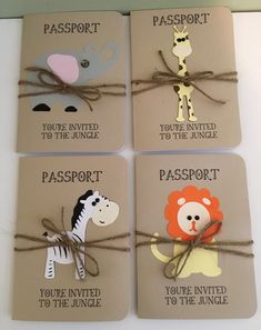 Jungle, Safari, Elephant, Giraffe, Zebra and Lion Animal Passport Birthday Invitation or Shower Announcement Jungle Safari Elephant Giraffe Zebra and Lion Animal Safari Theme Birthday, Jungle Theme Parties, Wild One Birthday Party, Safari Birthday Party, Jungle Party, Animal Birthday, First Birthday Parties, First Birthdays, Lion Party