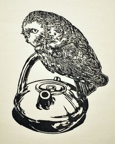 handmade woodblock print, Northern Saw Whet Owl with Teapot, oil based ink on Japanese paper. $100.00, via Etsy.