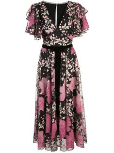 Shop online black Marchesa Notte embroidered floral ruffled dress as well as new season, new arrivals daily. Dressy Dresses, Short Dresses, Floral Dresses, Club Dresses, Printed Dresses, Pink Dresses, Blue Midi Dress, White Dress, Dress Black