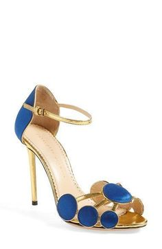 """Free shipping and returns on Charlotte Olympia 'Contemporary' Sandal (Women) at Nordstrom.com. <p><B STYLE=""""COLOR:#990000"""">Pre-order this style today! Add to Shopping Bag to view approximate ship date. You'll be charged only when your item ships.</b></p><br>A molecule of rich cobalt satin and gilded calfskin rests lightly at the toe of a strappy sandal set atop a slender golden heel, proving once and for all that smart <i>is</i> sexy. #charlotteolympiaheelsshopping #Sandalswomen"""