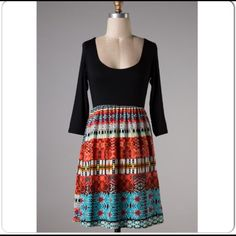⭐️1 DAY SALE!⭐️NWT Tribal Sunset Dress NWT Tribal Sunset Dress. Such beautiful colors in this dress! Black 3/4 length sleeved top with a scoop neck, silky-feeling skirt flares out from an empire waist. Soft, feminine, and comfortable! Available in S or M.No Trades and No Paypal⭐️PLEASE DO NOT PURCHASE THIS LISTING, COMMENT AND I WILL MAKE A SEPARATE LISTING FOR BUYING⭐️ Dresses