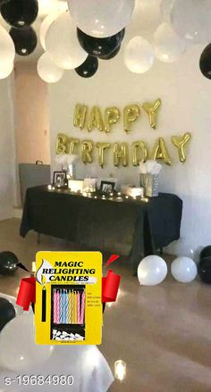 Gifts & Mugs Happy Birthday Gold Letter Foil Balloons + 30 pcs Black, White Balloons + 10 pcs Magic Candles Happy Birthday Gold Letter Foil Balloons + 30 pcs Black, White Balloons + 10 pcs Magic Candles Sizes Available: Free Size   Catalog Rating: ★4.2 (1202)  Catalog Name: Check out this trending catalog CatalogID_4068720 C127-SC1268 Code: 842-19684980-447