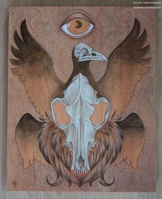 """16x20"""" Coyote and Crow Skull ORIGINAL Acrylic Painting on Wood"""