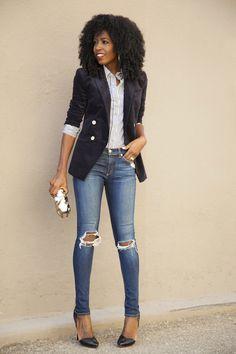velvet blazer, striped shirt, ripped jeans