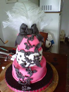 Gothic Chic birthday cake by CAKES BY SUE