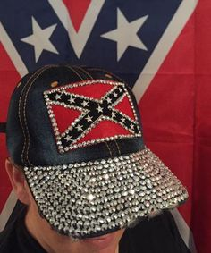 c148bb2e81f Blinged Out Denim Dixie Girl Hat Rebel Flags