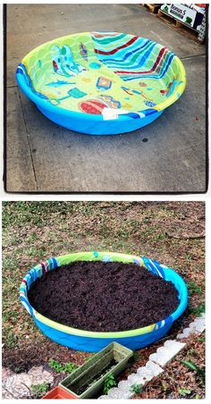 Inexpensive raised garden bed idea. Surround the pool in stones or brick for a more finished look! Pool garden