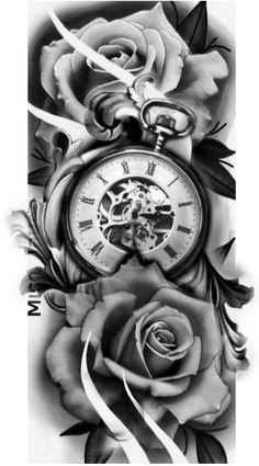 Clock Tattoo Sleeve, Clock And Rose Tattoo, Rose Clock, Sleeve Tattoos, Pocket Watch Tattoo Design, Pocket Watch Tattoos, Clock Tattoo Design, Angel Tattoo Designs, Tattoo Sleeve Designs
