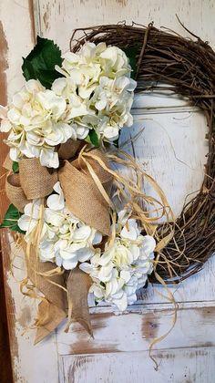 Cream Hydrangea Front door Wreath
