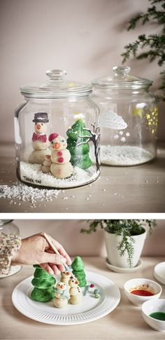 Marzipan trees and snow friends in a snow globe style glass jar