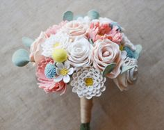 Bride's Felt Flower Wedding Bouquet / Choose Your Own Handmade Handmade Heirloom Forever Flowers