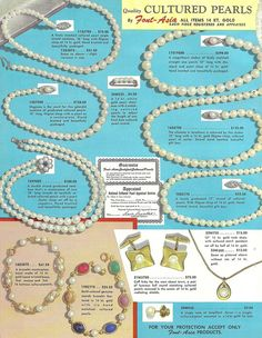 1950s catalog page featuring different styles of Font-Asia Cultured Pearl jewelry. vintage 1950s necklaces