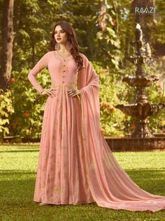 RAAZI D.NO.-20023 RATE: 1990 - RAMA RAAZI VOL 7  20017 TO 20024 SERIES  WHOLESALE SOFT GEORGETTE DESIGNER HEAVY EMBROIDERY PARTY WEAR SUITS COLLECTION AT WHOLESALE RATE AT DSTYLE ICON FASHION CONTACT : +917698955723 - DStyle Icon Fashion