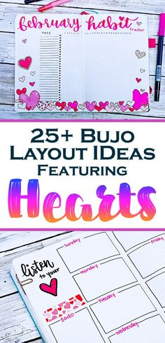 Looking for a beautiful, fun, unique bullet journal theme for your next monthly and weekly spreads? A heart theme is a super fun and easy setup perfect for any time of year. These easy bujo doodles are great for beginner artists and very easy to customize Bullet Journal Junkies, Bullet Journal Themes, Bullet Journal Layout, Bullet Journal Inspiration, Bullet Journals, Journal Ideas, Journal Prompts, Bullet Journal Monthly Spread, Bullet Journal How To Start A
