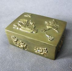 Antique Japanese Bronze, Desk Top Stamp Box with Birds, Flowers