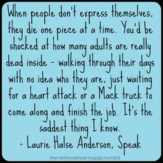 Speak-Laurie Halse Anderson | Book Quotes | Pinterest