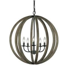 Feiss, Allier 5-Light Weathered Oak Wood/Antique Forged Iron Large Pendant, F2936/5WOW/AF at The Home Depot - Mobile
