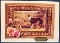 Old Masters Greyhound Terrier on Craftsuprint designed by June Young - made by Cheryl French - Printed onto glossy photo paper. Attached base image to card stock using ds tape. Built up image with 1mm foam pads. Added insert using thin ds tape. - Now available for download!