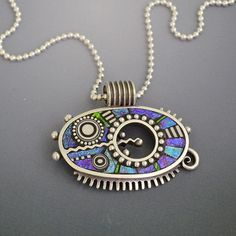 Sterling Silver pendant necklace with iridescent by LizardsJewelry, $335.00