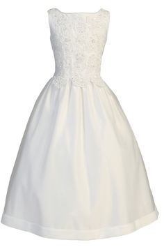 Pearl Beaded Floral Applique White Satin & Tulle First Holy Communion Dress (Girls Sizes 6 to 12 - 10X to 20X)