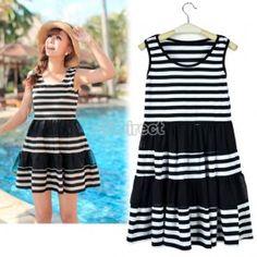 $7.80 Womens Summer Sleeveless Spliced Chiffon Stripes Beach Sundress Mini Dress
