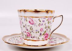 Vintage Rosina Teacup Pink Rose Tea Cup and Saucer Made in England Brushed Gold Bone China.