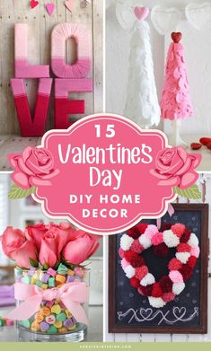 Valentine's Day DIY Home Decor! You'll love these pretty Valentine Decor Ideas that you can DIY this February! Pretty pink and red DIY decor ideas to make your home romantic this Valentine's Day. day ideas at home 15 Best DIY Valentine's Day Decorations Diy Valentines Day Wreath, Valentine Crafts For Kids, Valentines Day Decorations, Valentine Heart, San Valentin Ideas, Saint Valentin Diy, Diy Valentine's Day Decorations, Decor Ideas, Christmas Decorations