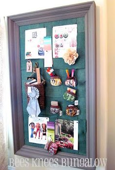 Bachmans 2012 Spring Idea House - inspirational board inside picture frame.
