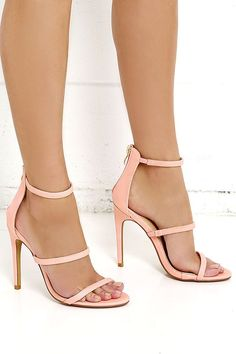 """You'll be all dolled up in two shakes with the Three Love Blush Pink Dress Sandals! A minimal, pink vegan leather upper has three skinny straps, a peep toe, and a 3.25"""" heel zipper with shiny gold pull."""
