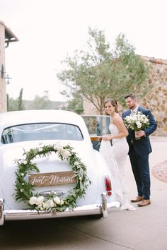 Oh, the classic getaway car shot.it's a favorite over here at SMP! It's also a favorite of Miami Planner Wedding Getaway Car, Dream Wedding, Wedding Cars, Just Married Car, Bridal Car, Wedding Car Decorations, Wedding Transportation, Tuscan Wedding, Seating Chart Wedding