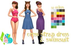 Cross Strap Dress & Swimsuit - I really liked the top that came with Get Together and the first thing I did was look through all the new clothing in game, close it, then open S4S and made the dress. I also thought it'd be cute as a swimsuit so...