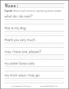Telling Time Worksheets Grade 2 Excel Kindergarten Capitalization Worksheet  First Letter Of A Sentence  They Re There Their Worksheet Pdf with Basic Math Word Problems Worksheets Capital Letters Worksheet  Students Are Asked To Rewrite Six Sentences  Using Correct Capitalization Ccss Simple Symmetry Worksheets Excel