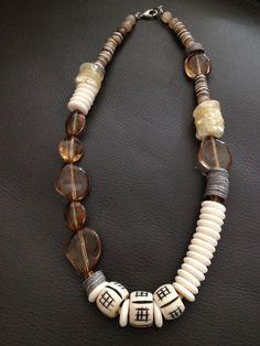 Acrylic, bone and wood necklace