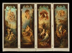 A Dramatic and Decorative Antique Screen (England) The four fold screen with a hinged frame is carved with ribbons, guilloches & bellflowers, and encloses four vertical canvas panels expertly painted with a rich & evocative palette, in the manner of François Boucher, depicting as is typical of his oeuvre putti disporting themselves in romantic & stylised pastoral settings. The panels circa 1780